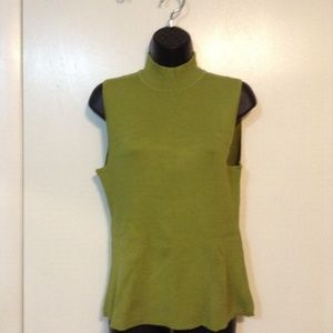 CABLE & GAUGE LIME GREEN MOCK TURTLE NECK SWEATER